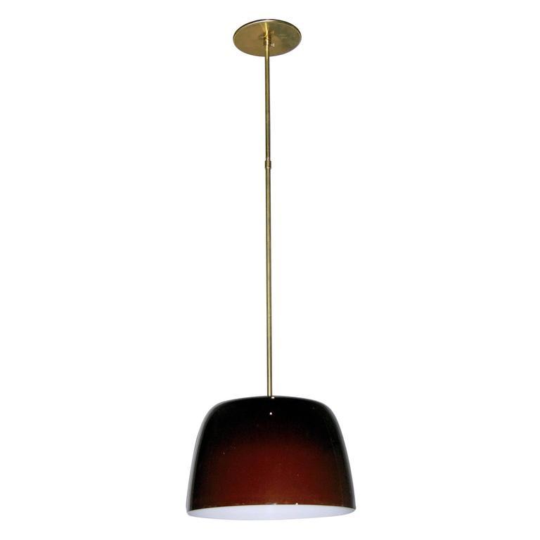 1970s Italian Minimalist Brass and Coffee Brown Murano Glass Pendant Light