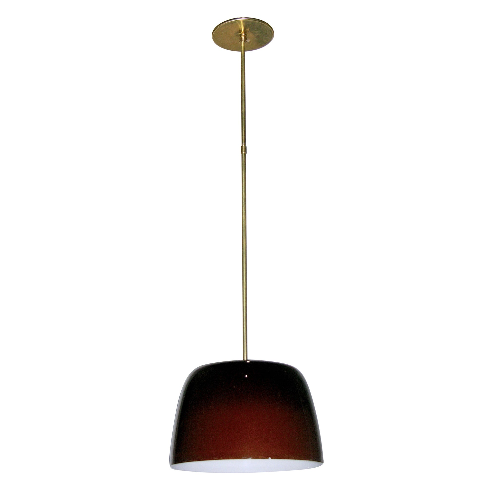 Italian Minimalist Brass and Coffee Brown Murano Glass Pendant Light 1970s