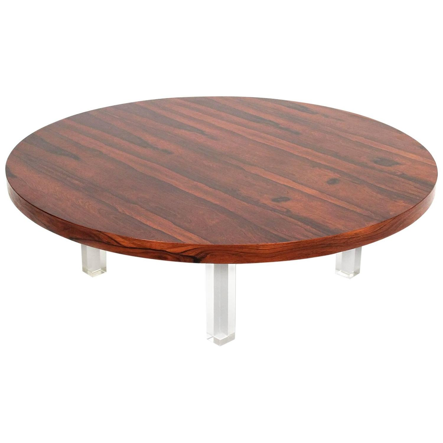 Circular Rosewood And Lucite Coffee Table By Milo Baughman At 1stdibs
