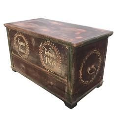 Tall 19th Century Painted Swedish Marriage Chest