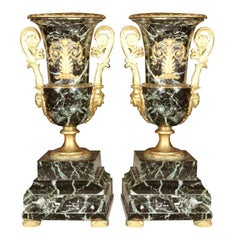 Pair of Neoclassical Bronze and Marble Table Urns