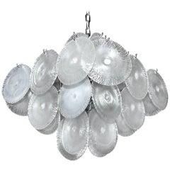 Mazzega Vistosi Murano Iridescent Disc Glass Chandelier