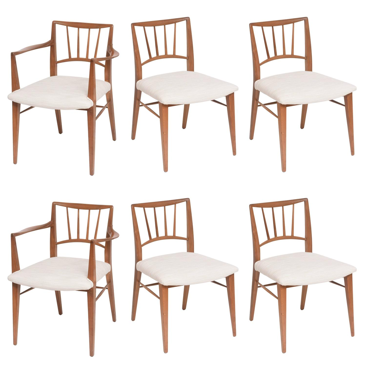 Set Of Six Mid Century Modern Dining Chairs By Edward Wormley For Dunbar For