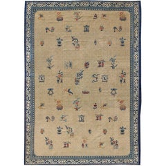 Large Antique Chinese Carpet in Ivory/Taupe Background and Blue Border