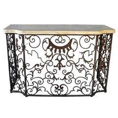Antique, Reclaimed Hand-Forged Balcony Console