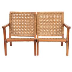 Clara Porset Walnut and Woven Rush Divided Settee