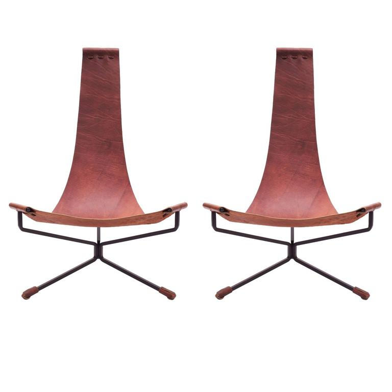 Pair of Dan Wenger Lotus Chair in Leather and Metal