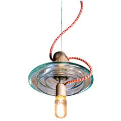 Industrial Belgian Glass Pendants with Colored Cords