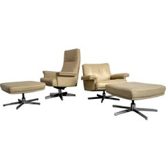 Vintage De Sede DS 35 Swivel Lounge Club Armchairs with Ottomans, 1970s