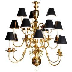 Dutch Baroque Style Brass Chandelier