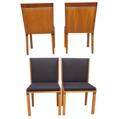 Set of Four Stunning Dining Chairs in Swedish Art Deco by Carl Bergsten