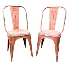1950s French Metal Industrial Stacking Café Bistro Chairs in Red