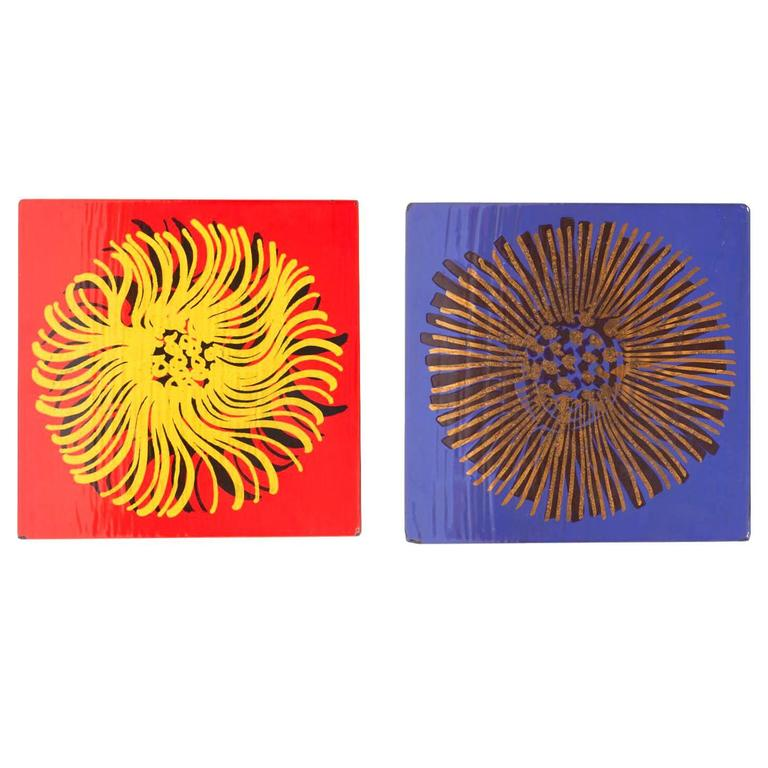 Pair of Enameled Wall Art Plaques by Gustavsberg For Sale at 1stdibs