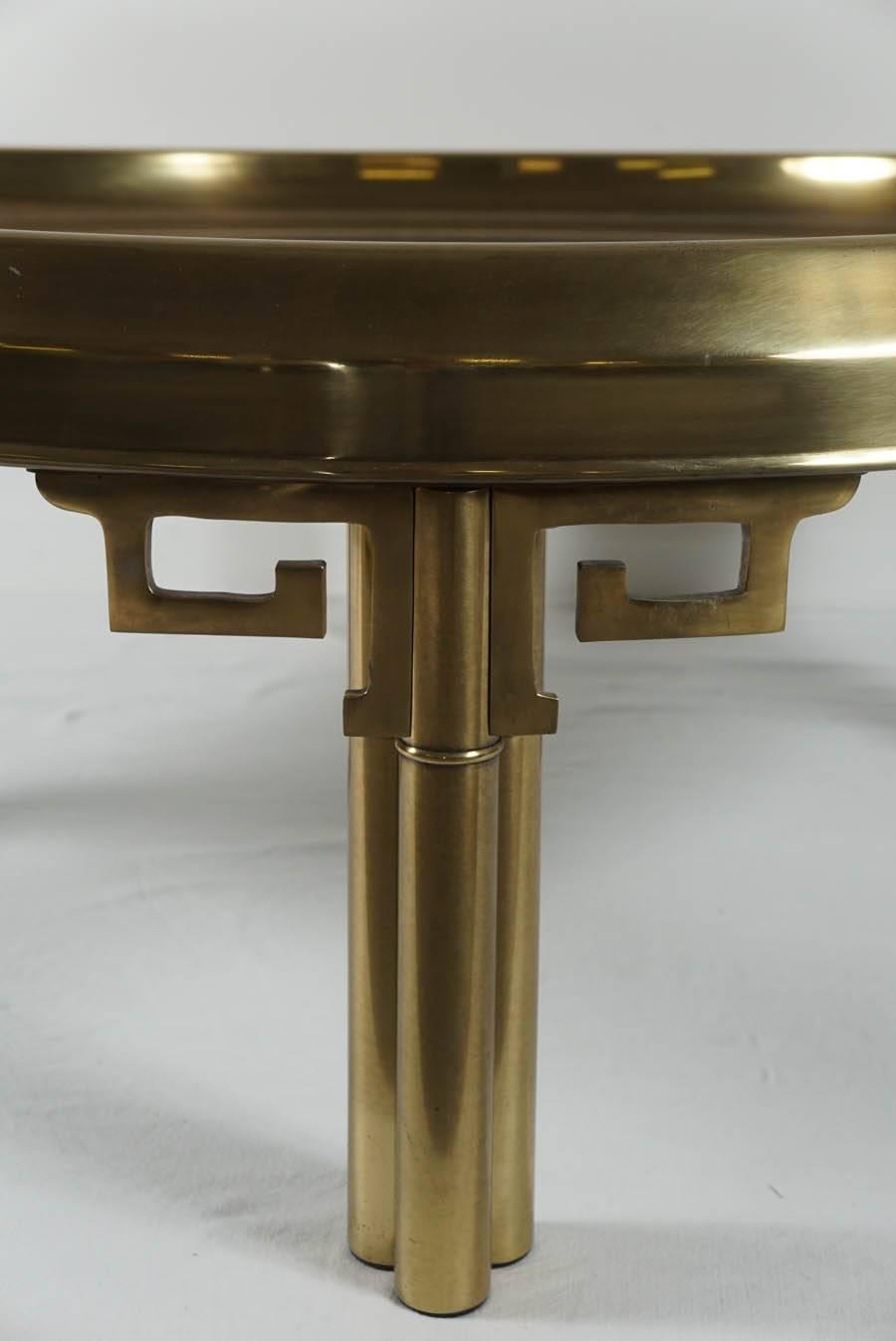 1970 s mastercraft round brass coffee table with greek key
