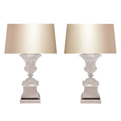 Pair of Fine Carved Rock Crystal Quartz Urn Table Lamps