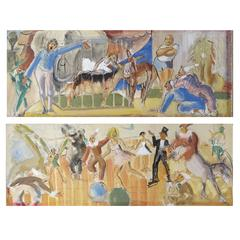 Fabulous Pair of 1940's French Circus Paintings