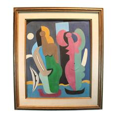 Mid-Century Modernist Abstracted Figurative Oil on Canvas
