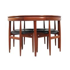 1960s Dining Set Table and Four Chairs by Hans Olsen for Frem Rojle, Denmark