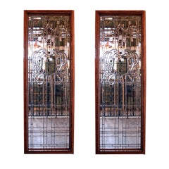 Colossal Hand-Cut Beveled Glass Window, circa 1920 - two matching available