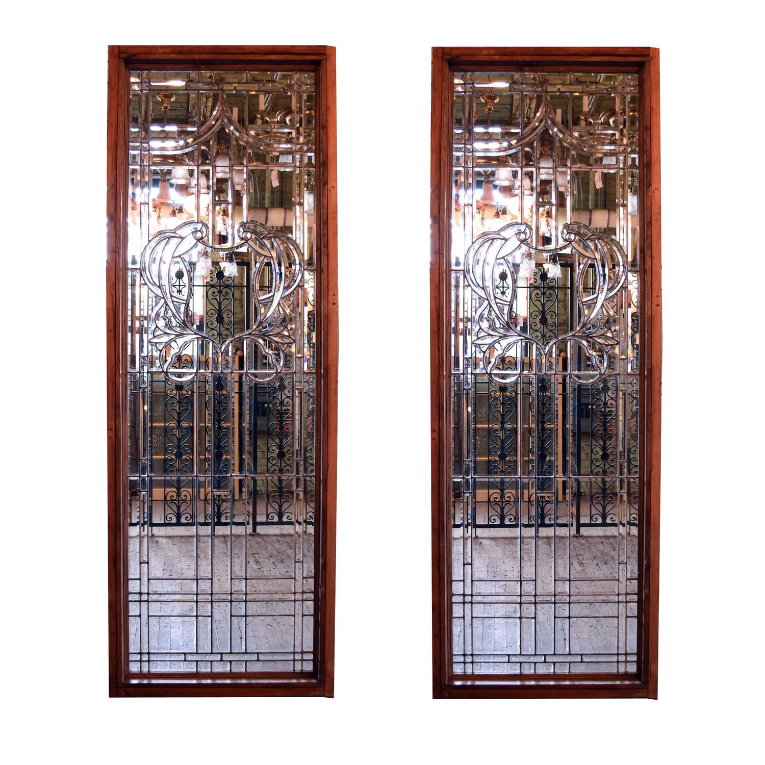 Pair of colossal hand cut beveled glass window circa 1920 for 1920s window