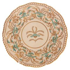 12 Tiffany Antique English Dessert, Salad Plates Turquoise Gold by Spode England