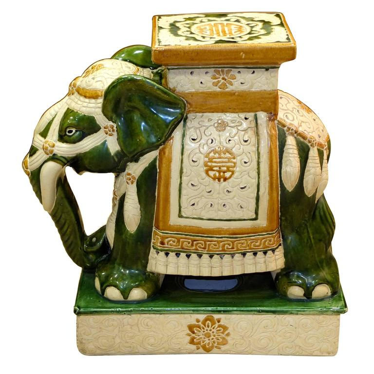 Vintage Glazed Ceramic Elephant Garden Stool 1