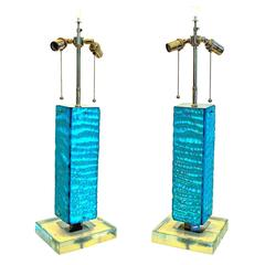 Blue Italian Glass Lamp Pair