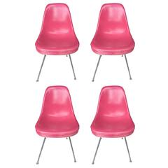 Four Herman Miller Eames Rare Pink Chairs
