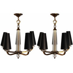 Pair of 5-light Jacques Adnet Chandeliers