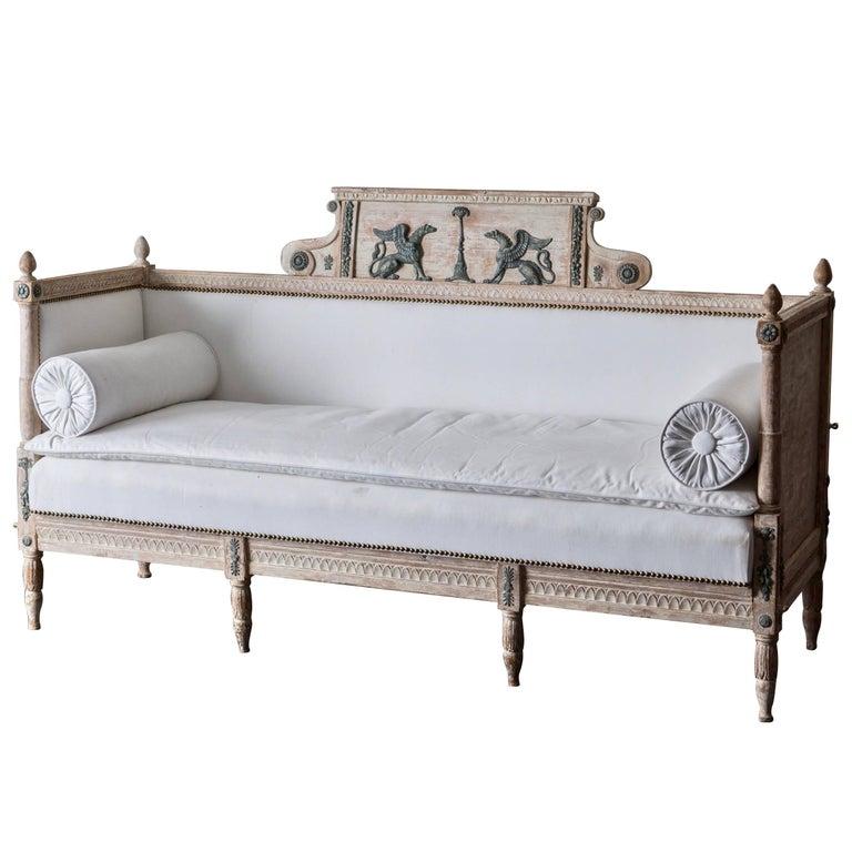 Sofa Bench Swedish Neoclassical 19th Century Original Paint, Sweden