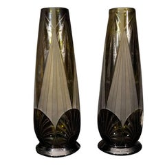 Pair of Glass Legras Vases