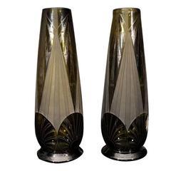 Pair of Glass Legras Vases