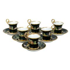 Tiffany Black Shoulders Demitasse Cups and Saucers