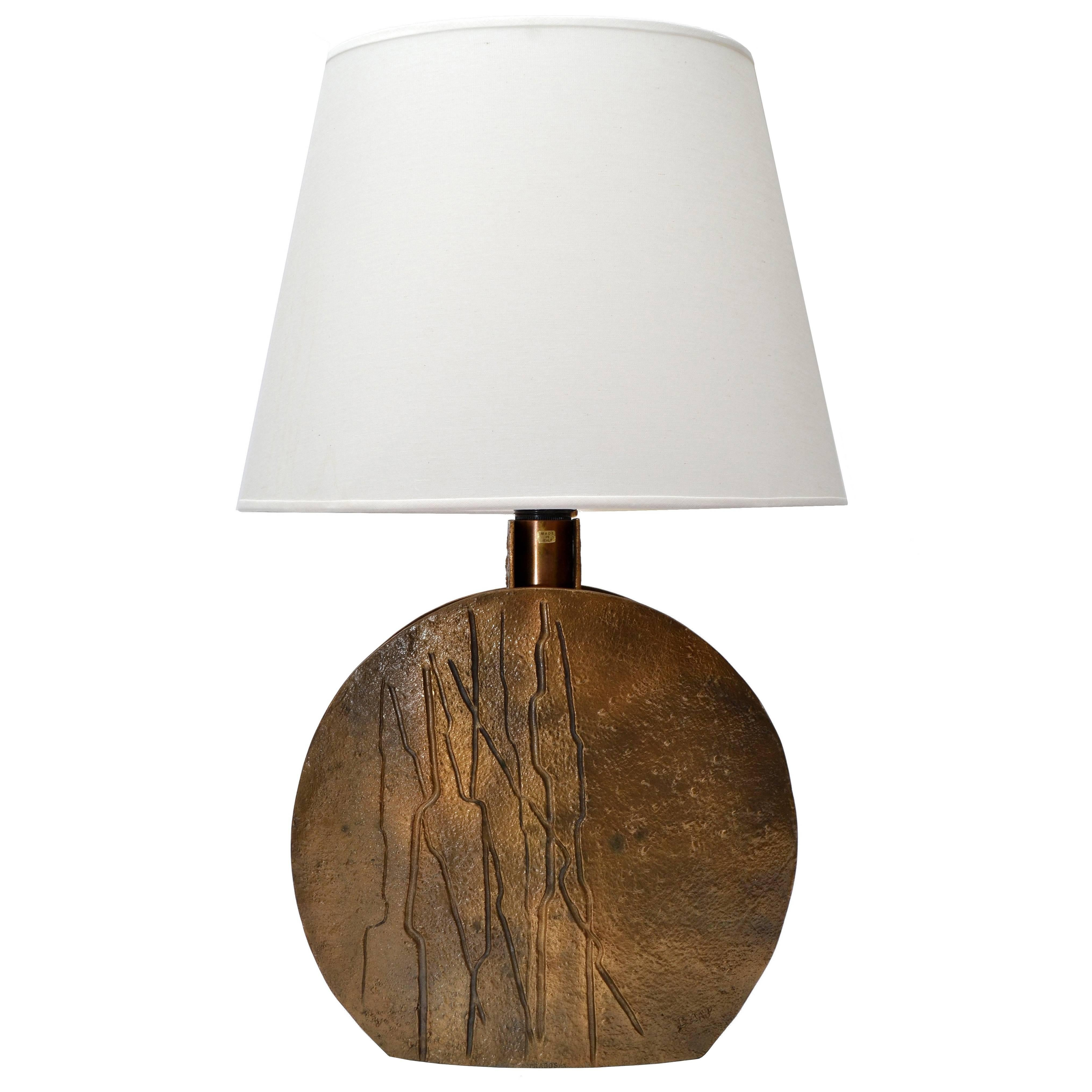 Pragos Sculpted Bronze Table Lamp, Italy For Sale at 1stdibs