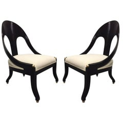 Pair of Neoclassical Style Spoon Back Chairs