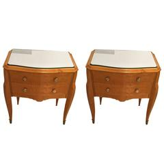 Pair of Art Deco Maple End Tables with Mirrored Tops