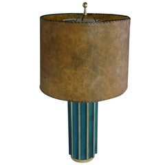 Leather Fluted Table Lamp, in the Style of Tommi Parzinger