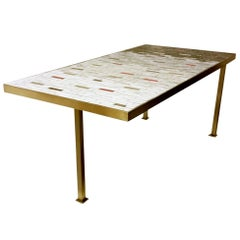 Handcrafted Studio Ceramic Tile Mosaic and Brass Coffee Table, circa 1950