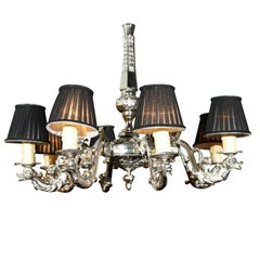 French Silver over Bronze Eight-Arm Chandelier