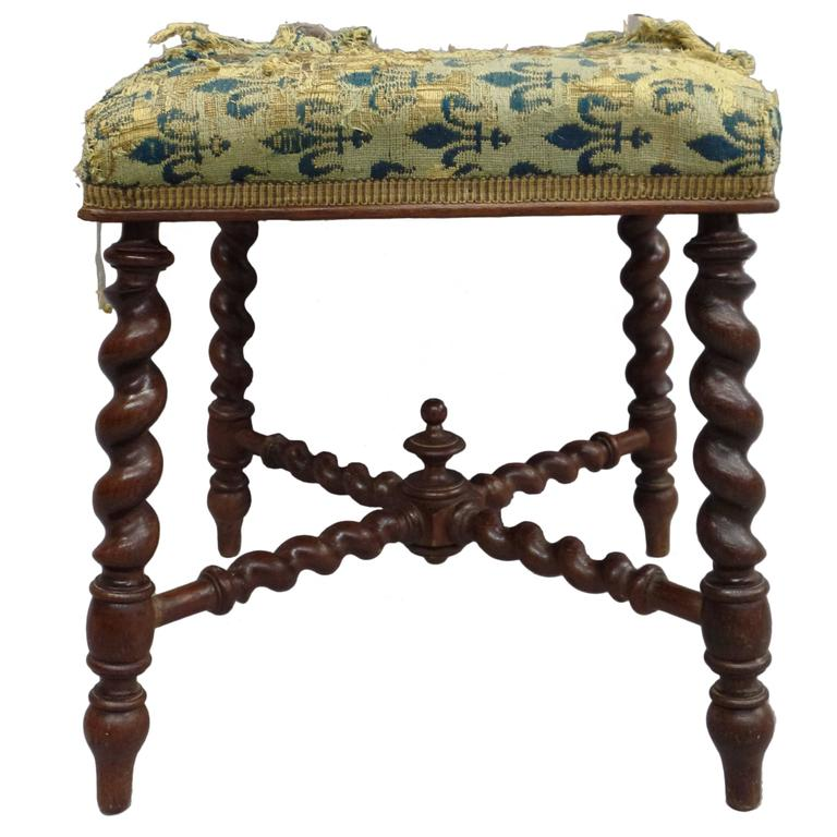 French 1940s Barley Twist Bench in the Style of Louis XIII 1
