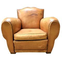 1920s french art deco chapeau gendarme or fleur de lys leather lounge club chair for sale at 1stdibs - Deco lounge parket ...