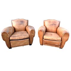 1930s French Art Deco Moustache Leather Lounge or Club Chairs