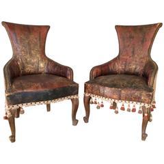 19th Century Spanish Gilt Leather Chairs