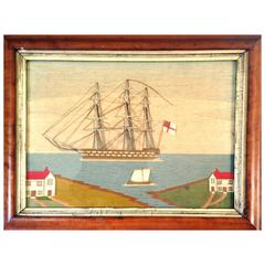 Attractive Small British Sailor's Woolwork or Woolie of a Ship