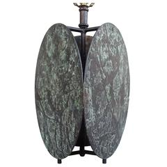 Sculptural Custom 1970s Patimated Bronze Table Lamp