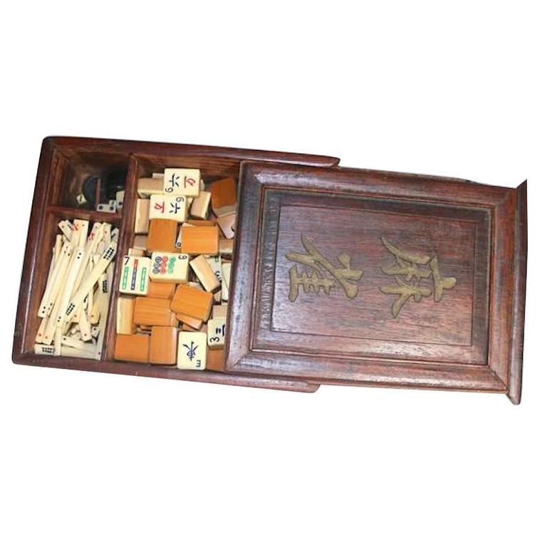 Early Chinese Bone Mah Jong Set in Original Hardwood Box with Provenance