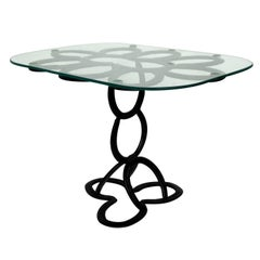 Lyrical Wrought Iron Side Table Made from St. Croix Forge Horseshoes, circa 1985