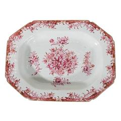 Antique Chinese Porcelain Platter Hand-Painted with Rose Pink Enamels