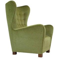 1940s, Fritz Hansen 1672 High Back Chair in Green Mohair