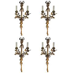 Pair  French Doré Bronze Ribbon and Tassel Two-Arm Floral Sconces